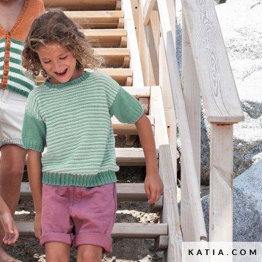 patroon breien haken kinderen trui lente zomer katia 6121 27 p