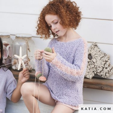patroon breien haken kinderen trui lente zomer katia 6121 3 p