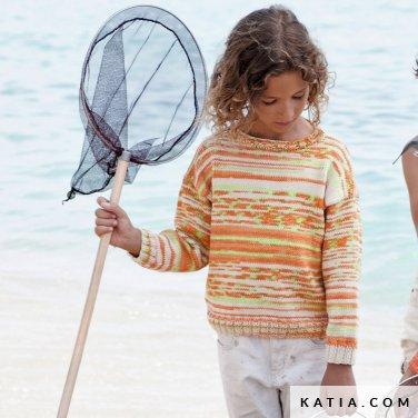 patroon breien haken kinderen trui lente zomer katia 6121 30 p