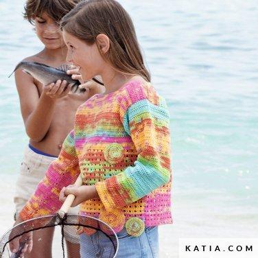 patroon breien haken kinderen trui lente zomer katia 6121 31 p