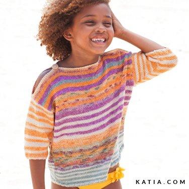 patroon breien haken kinderen trui lente zomer katia 6121 33 p