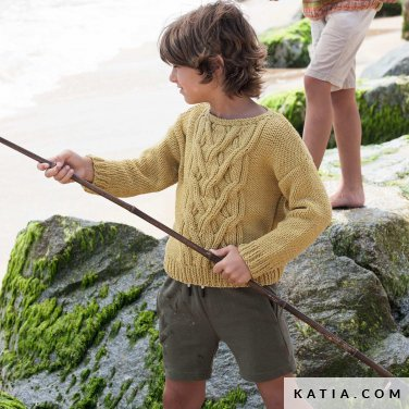 patroon breien haken kinderen trui lente zomer katia 6121 38 p