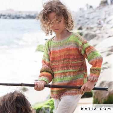 patroon breien haken kinderen trui lente zomer katia 6121 39 p