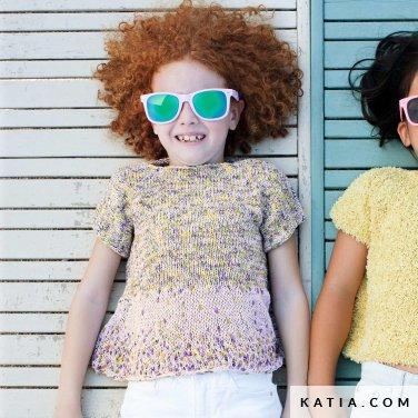 patroon breien haken kinderen trui lente zomer katia 6121 4 p