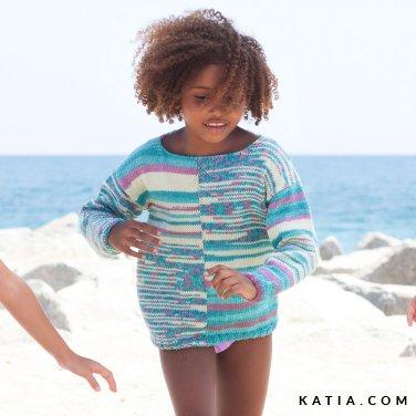 patroon breien haken kinderen trui lente zomer katia 6121 8 p