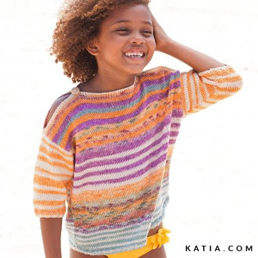 pattern knit crochet kids sweater spring summer katia 6121 33 p