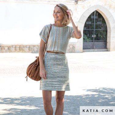 patroon breien haken dames jurk lente zomer katia 6122 15 p