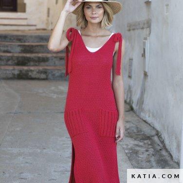 patroon breien haken dames jurk lente zomer katia 6122 31 p