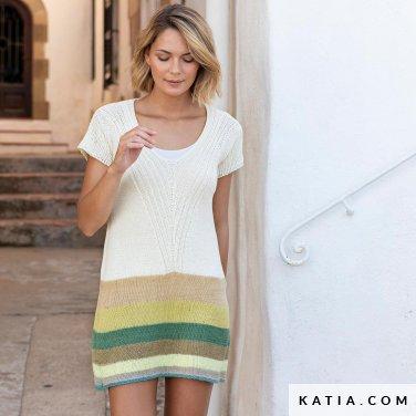 patroon breien haken dames jurk lente zomer katia 6122 59 p