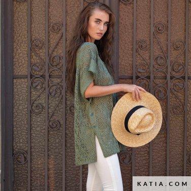 patroon breien haken dames poncho lente zomer katia 6122 42 p