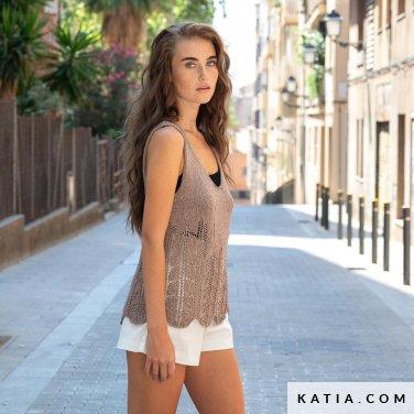 patroon breien haken dames topje lente zomer katia 6122 45 p