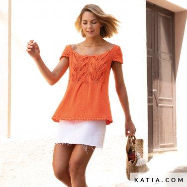 patroon breien haken dames trui lente zomer katia 6122 3 p