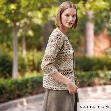 patroon breien haken dames jas lente zomer katia 6123 28 p