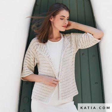 patroon breien haken dames jas lente zomer katia 6123 35 p