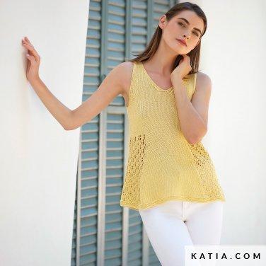 patroon breien haken dames topje lente zomer katia 6123 11 p