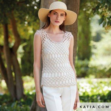 patroon breien haken dames topje lente zomer katia 6123 36 p