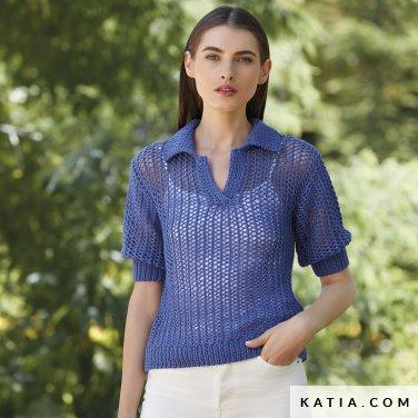 patroon breien haken dames trui lente zomer katia 6123 1 p