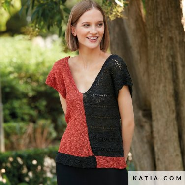 patroon breien haken dames trui lente zomer katia 6123 15 p