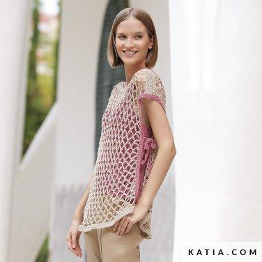 patroon breien haken dames trui lente zomer katia 6123 29 p