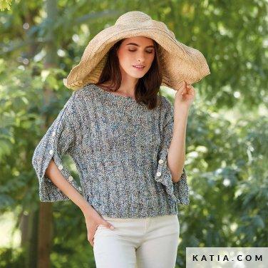 patroon breien haken dames trui lente zomer katia 6123 3 p