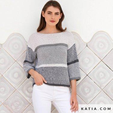 patroon breien haken dames trui lente zomer katia 6123 33 p