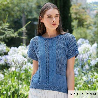 patroon breien haken dames trui lente zomer katia 6123 4 p