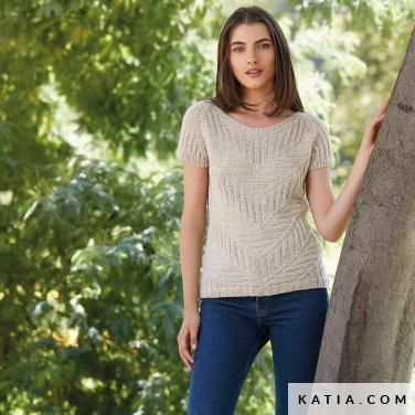 patroon breien haken dames trui lente zomer katia 6123 5 p