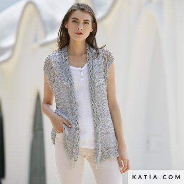 patroon breien haken dames vest lente zomer katia 6123 32 p