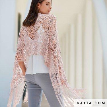 pattern knit crochet woman shawl spring summer katia 6123 31 p