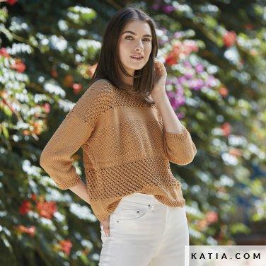 pattern knit crochet woman sweater spring summer katia 6123 21 p