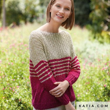 pattern knit crochet woman sweater spring summer katia 6123 24 p