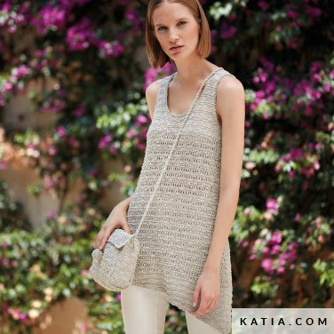 pattern knit crochet woman sweater spring summer katia 6123 25 p
