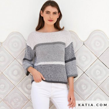 pattern knit crochet woman sweater spring summer katia 6123 33 p
