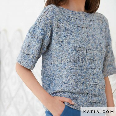 pattern knit crochet woman sweater spring summer katia 6123 6 p