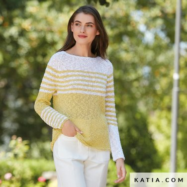 pattern knit crochet woman sweater spring summer katia 6123 9 p