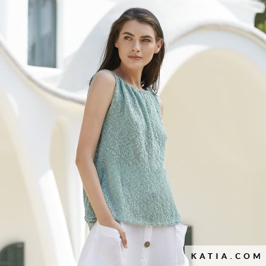 pattern knit crochet woman top spring summer katia 6123 8 p