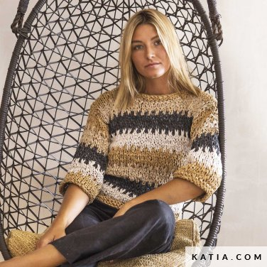 patroon breien haken dames trui lente zomer katia 6124 68 p
