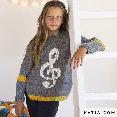 patroon breien haken kinderen trui lente zomer katia 6124 76 p