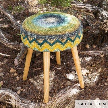 patroon breien haken woning hoes voor kruk stoel lente zomer katia 6124 55 p