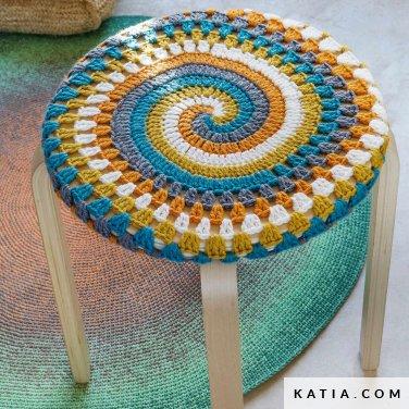 patroon breien haken woning hoes voor kruk stoel lente zomer katia 6124 71 p