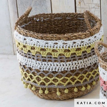 patroon breien haken woning personaliseren van een mand lente zomer katia 6124 7 p