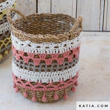 patroon breien haken woning personaliseren van een mand lente zomer katia 6124 8 p