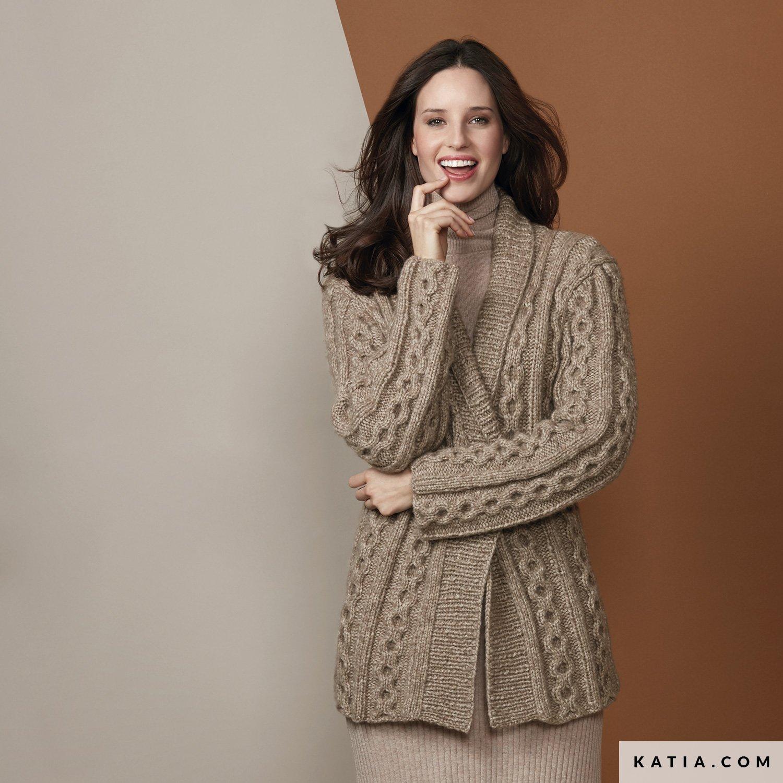 32-42 pulgadas Jaeger Tejer patrón para mujer Chaqueta con textura