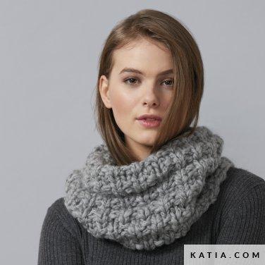 pattern knit crochet woman cowl autumn winter katia 6136 25 p