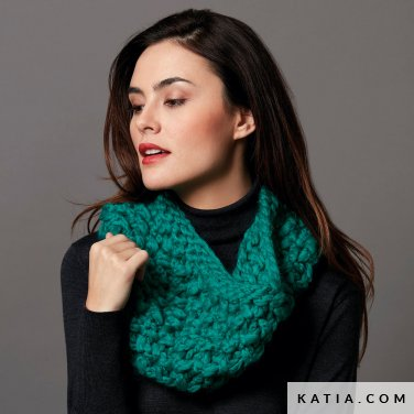 pattern knit crochet woman cowl autumn winter katia 6136 44 p