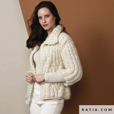 pattern knit crochet woman jacket autumn winter katia 6136 1 p