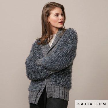 pattern knit crochet woman jacket autumn winter katia 6136 22 p