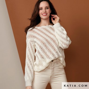 pattern knit crochet woman sweater autumn winter katia 6136 9 p