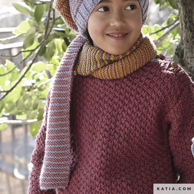 pattern knit crochet kids scarf autumn winter katia 6138 32 g
