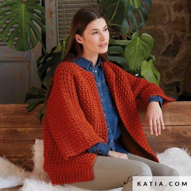 pattern knit crochet woman jacket autumn winter katia 6139 18 p